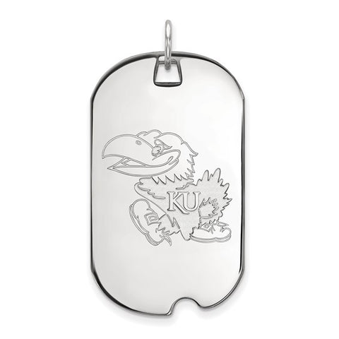 Kansas Jayhawks Large Dog Tag 10k White Gold