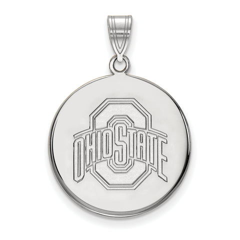 Ohio State Buckeyes Large Disc Pendant 10k White Gold