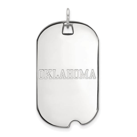 Oklahoma Sooners Large Dog Tag 10k White Gold