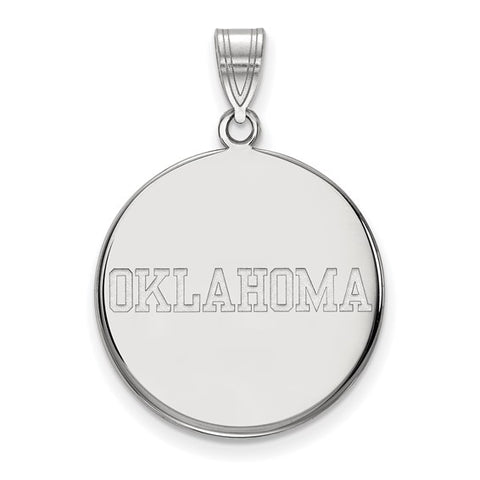 Oklahoma Sooners Large Disc Pendant 10k White Gold