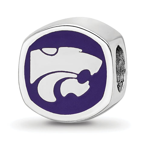 Kansas State Wildcats Wildcat Head Cushion Shaped Double Logo Bead
