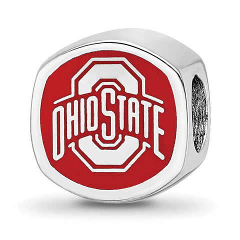 Ohio State Buckeyes Cushion Shape Bead Sterling Silver