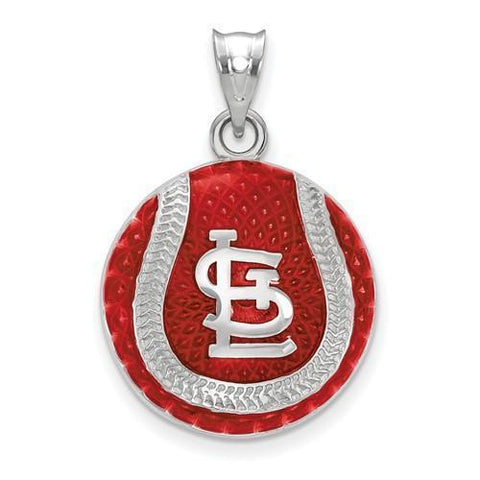 St. Louis Cardinals Baseball Pendant - Silver and Enamel