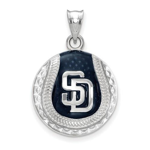 San Diego Padres Baseball Pendant - Silver and Enamel