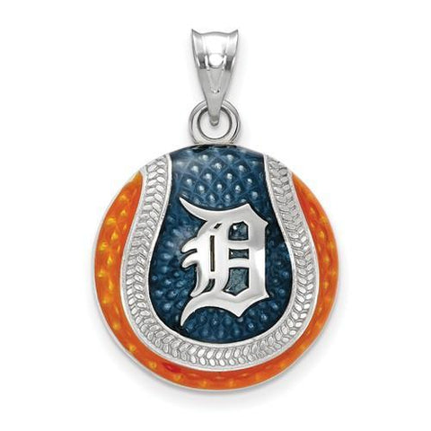 Detroit Tigers Baseball Pendant - Silver and Enamel
