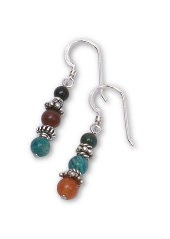 Gemstone & Bali Bead Earrings