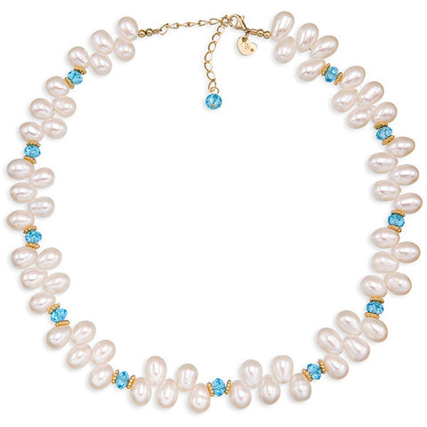 Dancing Pearls & Crystal III Necklace