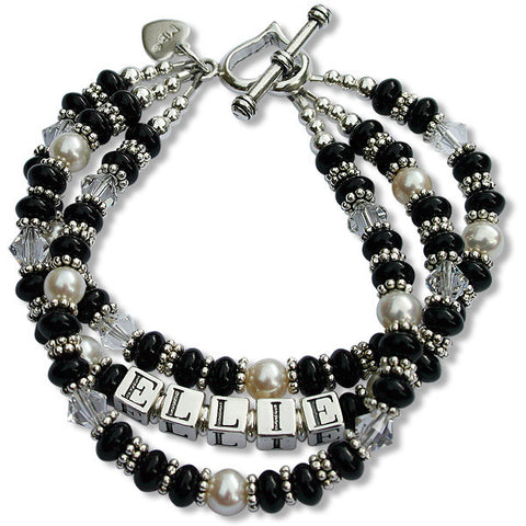 Black Onyx & Pearl Mommy Bracelet