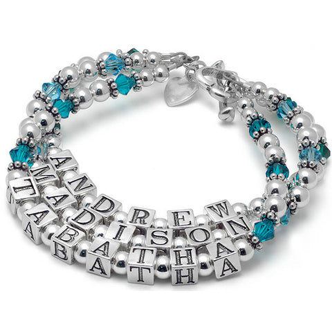 Crystal & Silver Mommy Bracelet