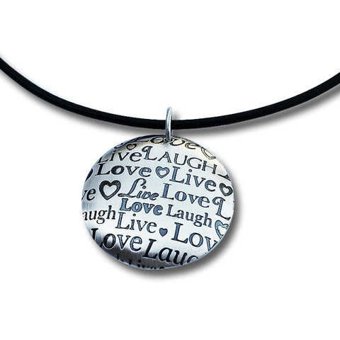 Live Laugh Love Smooth Leather Necklace with Domed Pendant