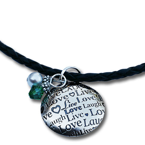 Live Laugh Love Braided Leather Necklace with Domed Pendant