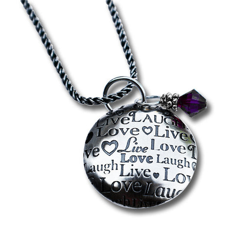 Live Laugh Love Sterling Silver Necklace with Domed Pendant