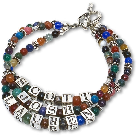 Gemstone & Bali Bead Mommy Bracelet