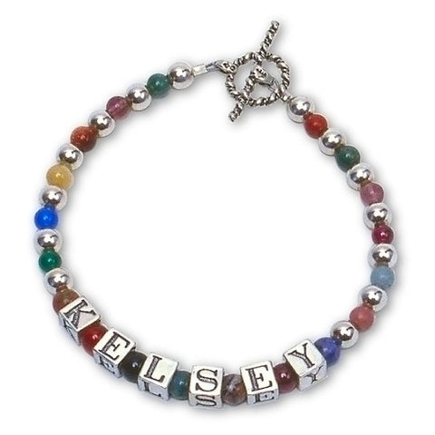 Gemstone & Silver Mommy Bracelet