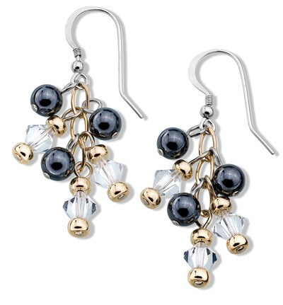 Hematite, Gold-filled & Crystal Earrings