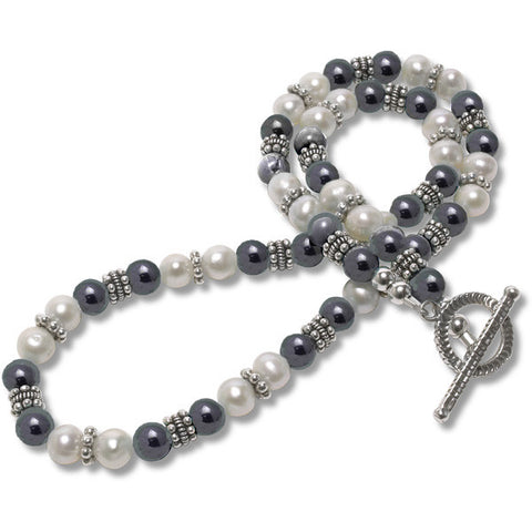 Hematite & Pearl Necklace