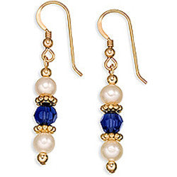 Gold Twist, Pearls & Crystal Earrings