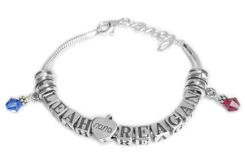 Euro Style Mother Bracelet  2 Names Dangles