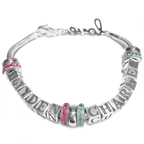 Euro Style Crystal Mother Bracelet 2 Names
