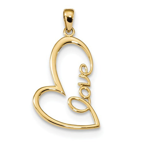 14K Gold Love Heart Pendant