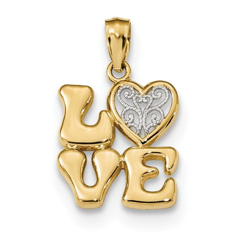14K Gold Love Filigree Pendant