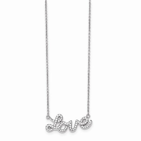 Petite Sterling Silver & CZ Love Necklace