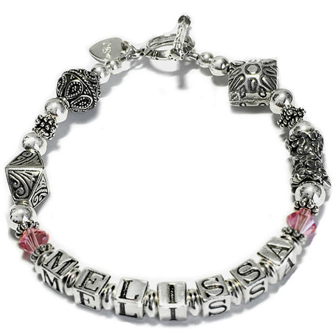 Ornate Bali Bead Mommy Bracelet