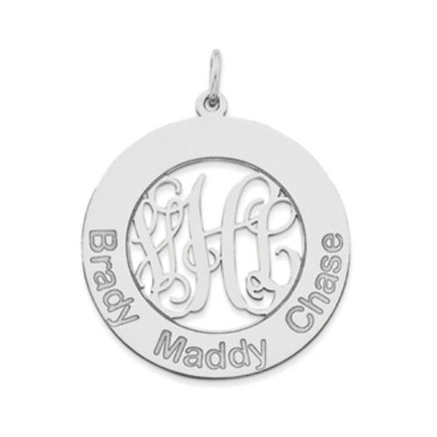 Mothers Monogram Pendant Sterling Silver 1""