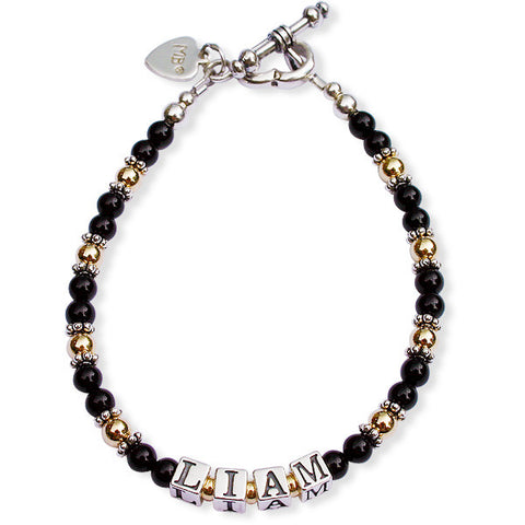 Petite Black Onyx & Gold Filled Mommy Bracelet