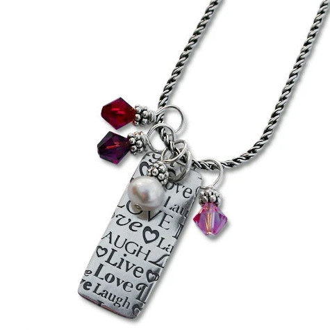 Live Laugh Love Sterling Silver Necklace with Rectangular Pendant