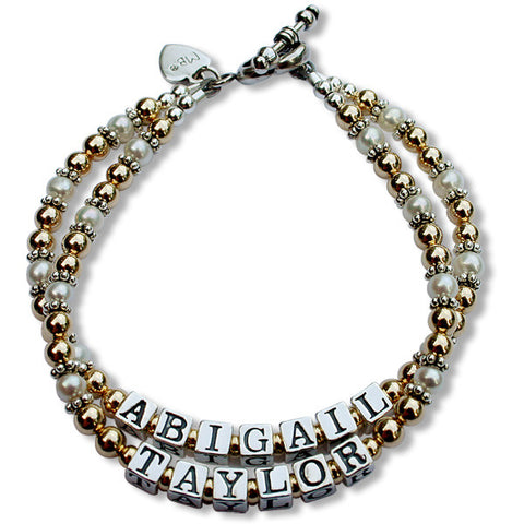 Petite Gold-filled, Bali & Pearl Mommy Bracelet