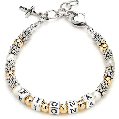 Lil' Princess Gold-filled, Pearls & Bali Bracelet