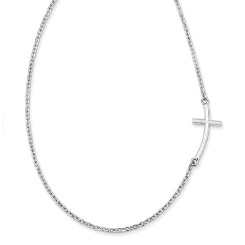 "18"" Curved Offset Sideways Cross Necklace"