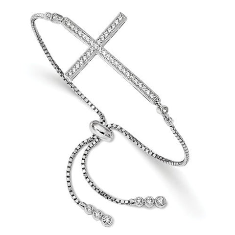 Sterling Silver CZ Sideways Adjustable Cross Bracelet