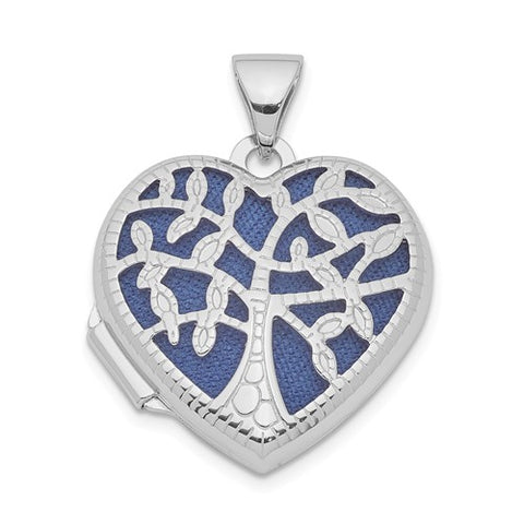 Sterling Silver Rhodium-Plated 18mm Filigree Tree Heart Locket
