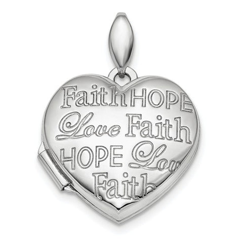 Sterling Silver Faith Hope Love Heart Photo Locket