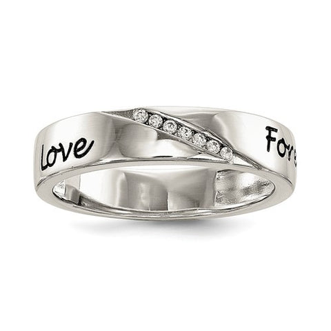 Sterling Silver CZ Love Forever Ring