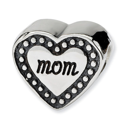 Sterling Silver Mom Heart Bead
