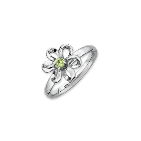 Mothers Stackable Birthstone Ring - Ribbon Petals