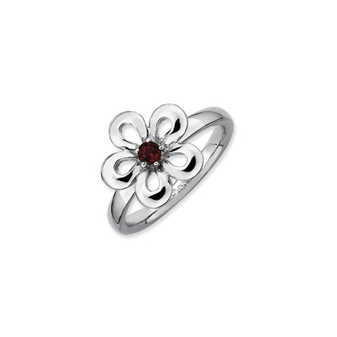 Mothers Stackable Birthstone Ring - Flower