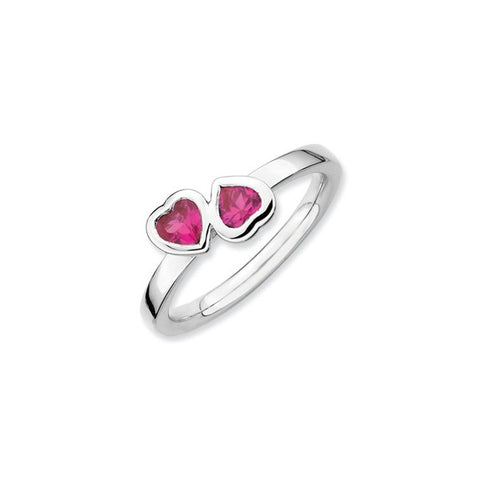 Mothers Stackable Birthstone Ring - Double Heart