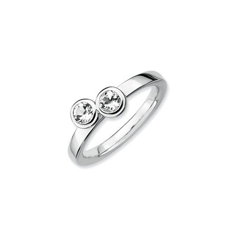 Mothers Stackable Birthstone Ring - Double Round