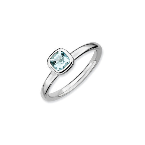 Mothers Stackable Birthstone Ring - Cushion Cut