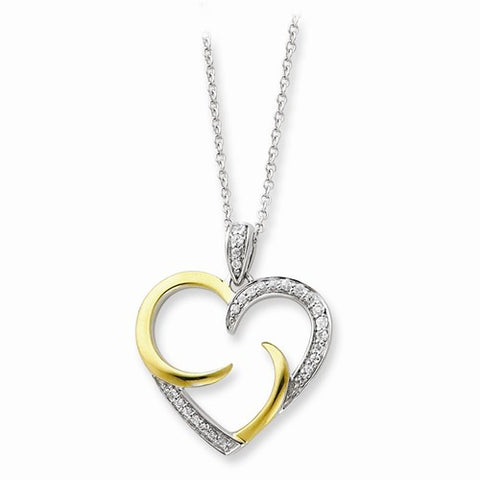 Arms of Love Sterling Silver & 14K Gold Plated CZ Heart Necklace