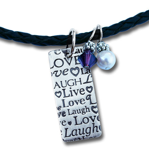 Live Laugh Love Braided Leather Necklace with Rectangular Pendant