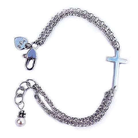 Sideways Cross Birthstone Bracelet