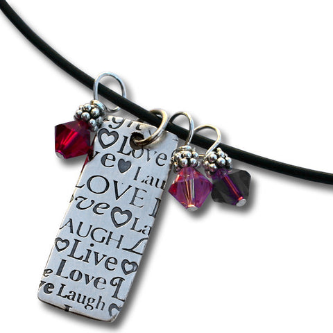 Live Laugh Love Smooth Leather Necklace with Rectangular Pendant