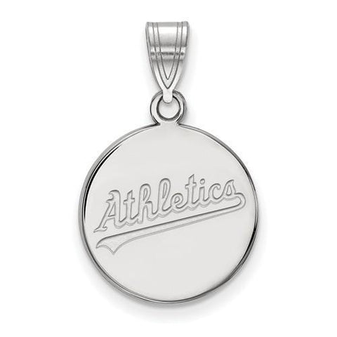 Oakland Athletics Medium Disc Pendant 14k White Gold