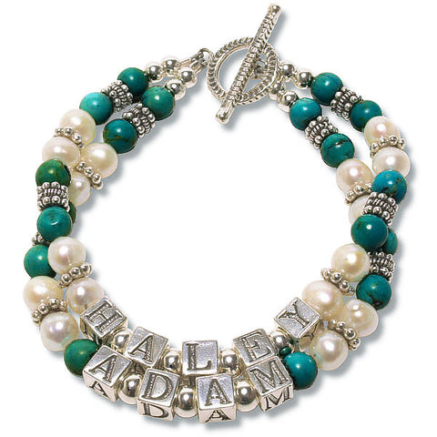 Turquoise & Pearl Mommy Bracelet