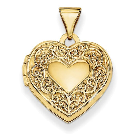 14K Gold Heart Photo Locket